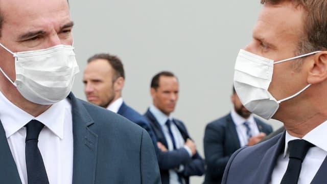 Le Premier ministre Jean Castex et le président Emmanuel Macron, place de la Concorde à Paris, pour la parade du 14 juillet 2020.