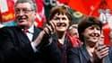 """De gauche à droite, le président sortant de la région Pays de la Loire, Jacques Auxiette, Dominique Voynet et Martine Aubry lors d'un meeting à Nantes. Figures de la """"gauche plurielle"""" sous le gouvernement Jospin, Martine Aubry et Dominique Voynet ont fai"""
