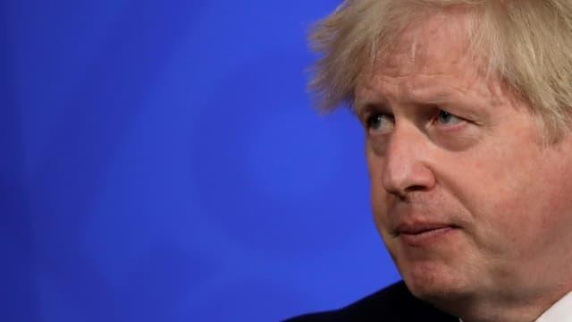 Le Premier ministre britannique Boris Johnson lors d'une intervention le 14 mai 2021 à Downing Street, siège du gouvernement à Londres