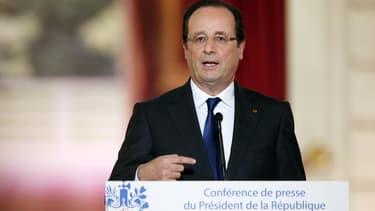 François Hollande, lors de sa conférence de presse à l'Elysée, ce jeudi.