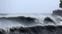 Des curieux viennent admirer le spectacle formé par la mer agitée, à Saint-Denis-de-la-Réunion. Des vagues de 10 mètres de hauteur sont attendues sur les côtes de l'île.