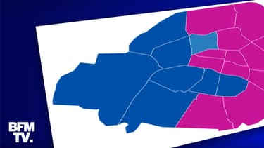 Carte des résultats du second tour des élections municipales à Paris.
