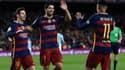Lionel Messi (à gauche), Luis Suarez et Neymar (de dos) avec Barcelone en février 2016