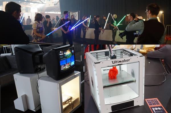 Des animations pour apprendre à manier l'arme des Jedi ou revivre les joies du rétrogaming avec l'association MO5.com. Les Nouvelles Usines, elles, proposaient des présentations de l'impression 3D.)