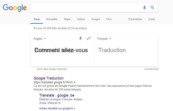 La traduction via la page de résultats Google est impossible