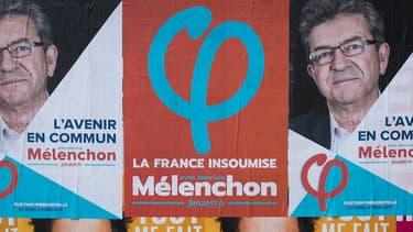 Une affiche de campagne de Jean-Luc Mélenchon