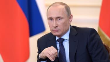 Vladimir Poutine donne une conférence de presse sur l'Ukraine, mardi 4 mars 2014.