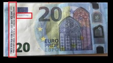 Les faux billets sont facilement identifiables, car ils n'ont pas les signes de sécurité et il est écrit en anglais qu'il s'agit d'un accessoire de cinéma.
