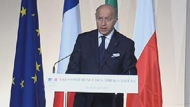 Le ministre des Affaires étrangères Laurent Fabius, jeudi à l'Elysée.