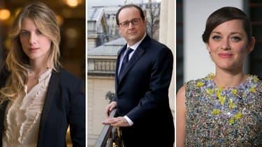Le président de la République François Hollande entouré par les actrices Mélanie Laurent et Marion Cotillard