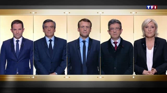 Les cinq candidats les plus médiatiques lors du débat de TF1.