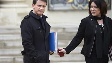 Le Premier ministre Manuel Valls et la ministre du Logement Sylvia Pinel à l'Elysée, en mars 2015.