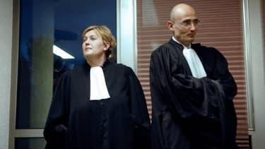 Nelly Rouzet et Eric Muller, avocats du principal suspect Nicolas Panard, en 2007.