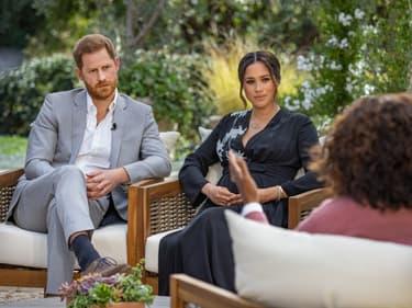 Meghan Markle, Harry et Oprah Winfrey lors de l'interview sur CBS le 7 mars 2021.