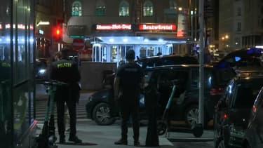 La police mobilisée à Vienne ce lundi soir.