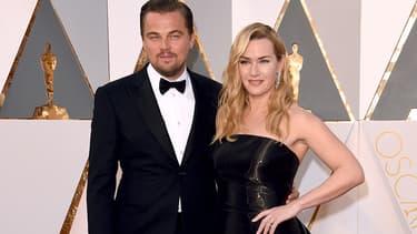 Leonardo DiCaprio et Kate Winslet en février 2016 à Hollywood. -