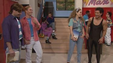 """Jimmy Fallon, à gauche, a """"ressuscité"""" Zach, Jessie et Slater, comme au bon vieux temps de """"Sauvés par le gong""""."""