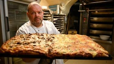 Stephane Ravacley dans sa boulangerie à Besancon, le 6 janvier 2021. (Photo d'illustration)