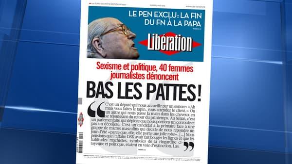 La une de Libération, mardi.