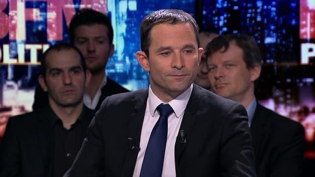 Benoît Hamon sur le plateau de BFMTV, dimanche 12 avril.