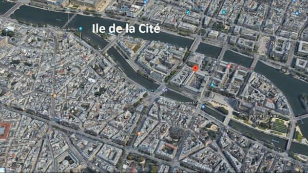 Plan de la préfecture de police de Paris, sur l'Ile de la Cité.