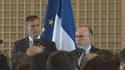 Jérôme Cahuzac (à gauche) et Bernard Cazeneuve (à droite), lors de la passation de pouvoir entre les deux ministres, à Bercy.