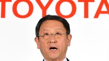Akio Toyoda, le président de Toyota Motor Corporation à l'occasion de la présentation des résultats du groupe ce mercredi 8 mai 2013 à Tokyo.