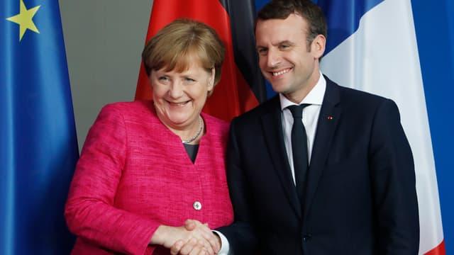 Angela Merkel et Emmanuel Macron à Berlin, le 15 mai 2017.