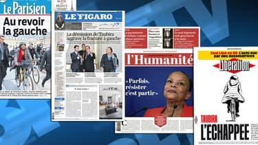 La démission de Christiane Taubira fait la une de nombreux quotidiens.