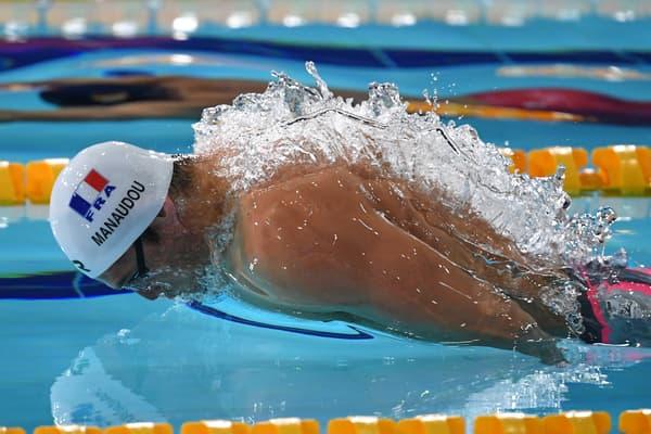 Florent Manaudou lors des championnats d'Europe en petit bassin en décembre 2019
