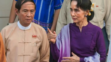 Aung San Suu Kyi avec le président Win Myint