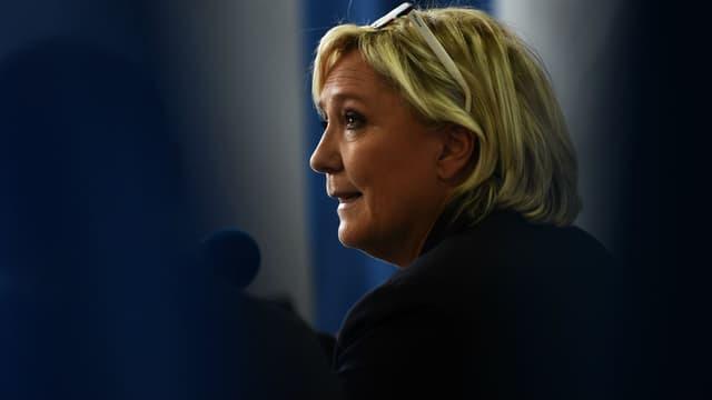 Marine Le Pen lors d'une conférence de presse le 8 octobre 2017 à Carpentras.