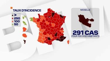 Le taux d'incidence en Moselle, au 8 février 2021.