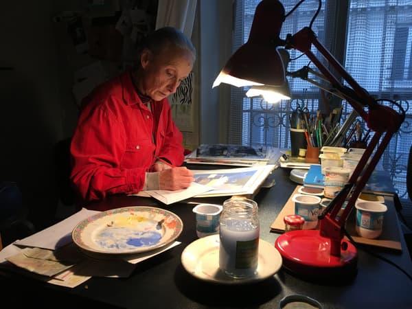 Evelyne Tranlé dans son atelier, le 6 janvier 2017