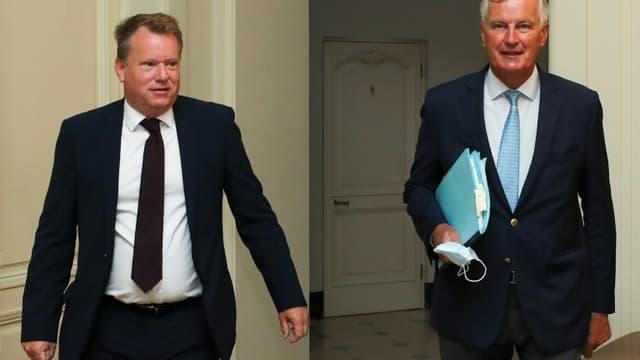 Le négociateur britannique David Frost (à gauche), et son homologue européen, Michel Barnier, à Bruxelles, le 21 août 2020