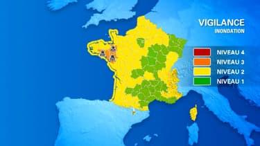 Trois départements restent dimanche après-midi en vigilance orange crues.