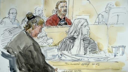 Croquis d'audience du procès de Charlène Cotte et Christophe Champenois le 8 septembre 2015 à la cour d'assises de Melun