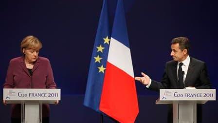 Angela Merkel et Nicolas Sarkozy.