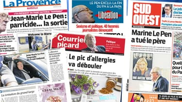 """Les unes de la presse, mardi, évoquent la """"guerre père-fille"""" au sein du Front national."""