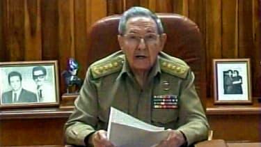 Raul Castro lors de son discours à la télévision cubaine le 17 décembre 2014.
