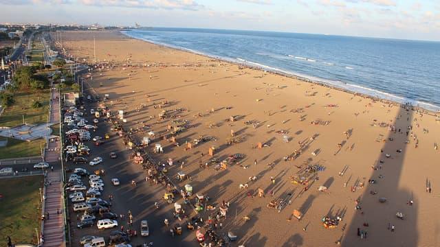 La Plage de Marina à Chennai, Inde