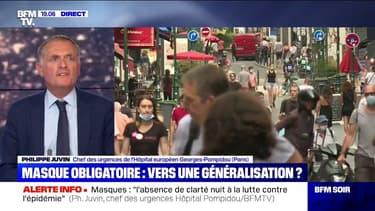 """Pour Philippe Juvin, """"le gouvernement a un peu peur de prendre des décisions contraignantes"""" concernant le port du masque"""