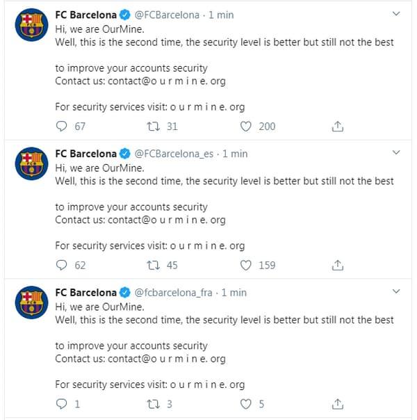 Les comptes Twitter du FC Barcelone piratés le 15 février 2020