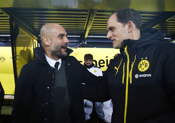 Pep Guardiola et Thomas Tuchel, à Dortmund le 5 mars 2016