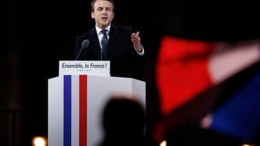 Emmanuel Macron, dimanche soir au Louvre
