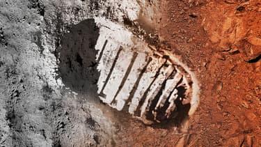 Vue d'artiste d'une empreinte de pas sur la Lune et sur Mars.