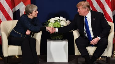 Theresa May et Donald Trump à Davos, le 25 janvier 2018.
