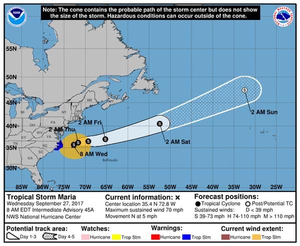 La très probable trajectoire de la tempête Maria à travers l'océan Atlantique.