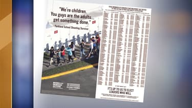 La double page achetée par l'organisation Everytown dor Gun Safety, dans le New York Times.