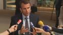 Emmanuel Macron devant des journalistes, à l'issue d'un entretien avec son homologue allemand Sigmar Gabriel et les présidents de la Commission européenne et du Parlement européen à Strasbourg.